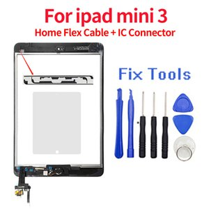 7.9 inches For iPad mini 3 A1599 A1600 Touch Screen Glass Digitizer Assembly Replacement Outer Glass Lens Panels Wholesale Home Button & Home Flex Cable + IC Connector
