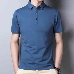 Летние мужские высококачественные шелковые рубашки бизнес повседневная рубашка мягкая комфортная работа поло