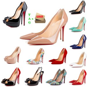 Brand Woman Red Bottoms High Heels Patent Leather Platform Peep-toes Sandals Designer Pointy Toe Dress Shoe Luxury Womens Shallow Mouth Reds Sole Pumps Wedding Shoes