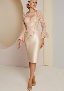 Modern Mother of the Bride Dresses Knee Length Short Prom Dress Lace Applique Long Sleeves Robe De Soiree