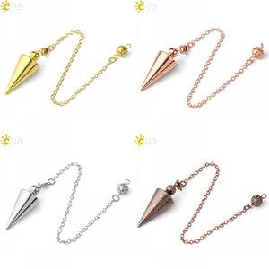 Csja cone metal pêndulo para wicca antiguidade cobre ouro espiritual pendulo radiestesia cura pendule jóias g336 22 w2