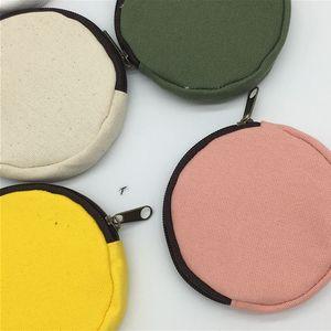 DIY Blank Round Canvas Zipper Pouches Cotton Kawaii Coin Purses Cases Pencil Bags 8 Colors HHB2422 KOK0