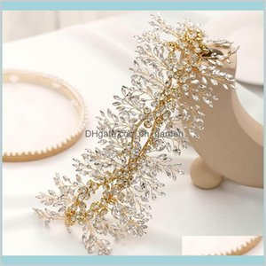 Bridal Headband Gold Crystal Rhinestones Tiara Accessories Handmade Women Ornaments Headpieces Dfgp6 Xmnvn
