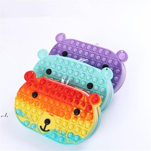 Newstyle Decompression Toys Colorful Cartoon Bear Coin Purse Bubbles Hand bag RRB11432