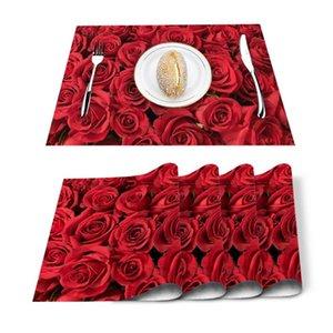 Table Runner 4 6pcs Red Rose Flower Bouquet Plant Kitchen Placemat Set Dining Mats Cotton Linen Pad Bowl Cup Mat Home Decor