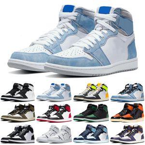 2021 1 1s mens basketball shoes Hyper Royal Silver Toe UNC Obsidian University Blue men women trainers sports sneakers