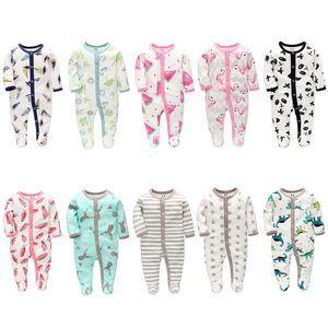 Kids Cotton Footies Fall Infant Designer Boys Girls Rompers Long Sleeve INS Cartoon FootiesNewborn Spring Autumn Clothing