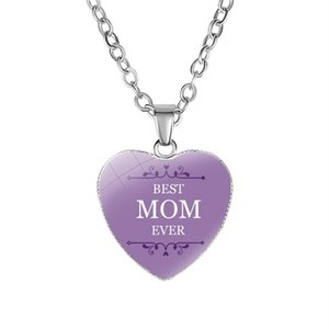 New Arrival Love You MOM pendant Necklace Glass Heart Shape Best Mom Ever charm For women Mama Fashion Jewelry Mother's Day Gift 322 G2