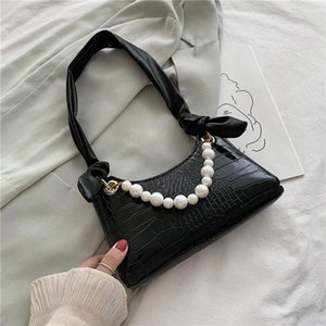 Evening Bags French Pearl Decor Women's Korean Version Shoulder Vintage Gothic Style Top Handle Bag Fashion Zipper Leather