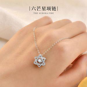 Gioielli S925 sterling argento sei collana a punta femminile femminile moda coreana temperamento diamante stella catena clavicola