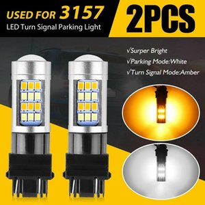 Car Headlights 2X Error Free White Amber 3157 42SMD 3528 LED DRL Switchback Turn Signal Parking Light Bulb
