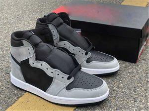 2021 أحدث أصيلة 1 الظل 2.0 رجل أحذية رياضية 555088-035 ضوء أسود الدخان رمادي رياضة أحذية رياضية بيضاء مع المربع الأصلي