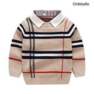 2-8T малыш малыш мальчик одежда осень зима теплый пуловер верхний рукав простой свитер мода вязаный джентльмен наряд 201203