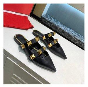 2021 VG Gold Perçin Sandalet Lüks Tasarımcılar Kadın Terlik Düz Topuk Sürgüleri Buzdoluğu Tüm Maç Stilist Ayakkabı 6,5 cm Yüksek Topuklu Kutusu 01