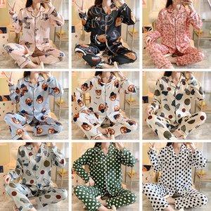 Wholesale Women Winter Fall Long Sleeve Silk Pajamas Sets Home Textile Fashion Casual Letter Printed Lapel Cardigan Sleepwear Cartoon Pattern Night Clothing