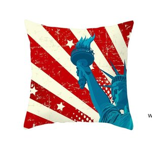 American Independence Day Pillowcase Plush Digital Printing Pillow Cover Home Decoration Car Pillow Cover 45*45cm DHE6000