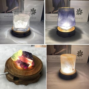 Jewelry Pouches, Bags Wooden LED Display Stand 3D Night Light Round Base For Crystal Glass Ball Home Decorations Birthday Gifts