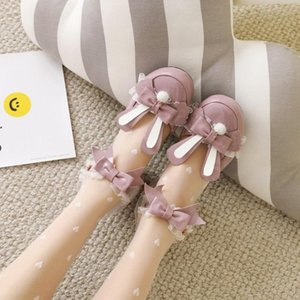 US4-11 Womens Lolita Round Toe Ear Bowknot Kawaii Cosplay Shoes Sandals Mid Heel Plus Size 34-45 MaryJanes 2021
