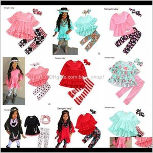 Clothing Sets Baby Girls Flower Tops Ins Fashion T Leggings Ruffle Shirts Dress Pp Pants Headband Shorts Outfits Kids Clothes Agbcg Iouyr