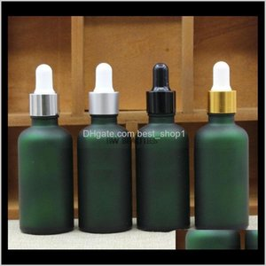 Storage Bottles Jars 300Pcslot 15Ml 50Ml Empty Green Frosted Glass With Black Gold Sier Ring White Rubber Dropper Capessential Oil Bot Zvgnl