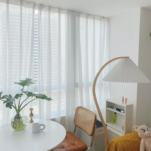 Curtain & Drapes Modern White Transparent Tulle Curtains For Living Room Striped Vertical Blinds Style Sheer Bedroom Window Voile Custom Siz