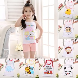 Summer Kids 100%Cotton T Shirts Boys Girls Baby Cartoon Printed Sleeveless Vests Clothes For 2-7 Years Children Clothing Gift CN 847 X2