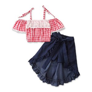 Kids Clothing Sets Girls Outfits Baby Suits Child Clothes Children Summer Cotton Lace Tank Tops Denim Long Skirts 2Pcs 2-6Y B4733