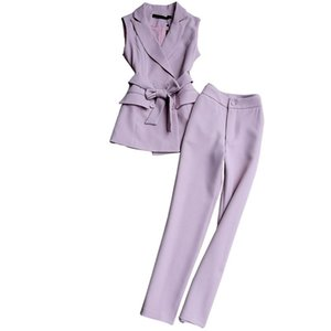 Fashion Suit Spring And Autumn Ol Temperament Slim Female Sleeveless Vest Pencil Pants Ankle Length Two-piece Women's Tracksuits