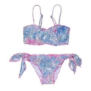 Two-Pieces Kids Swimwear Suit Baby Swimming Girls Swimsuit Children Wear Mermaid Bathing Suits Bikini 2Pcs Sets 5-12T B4620