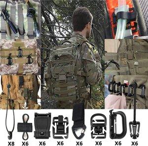 20 Sets 50Pcs Tactical Gear Clip Strap Molle Web Dominators Webbing Attachments Kit for Backpack Vest Belt Outdoor Hydration Tube