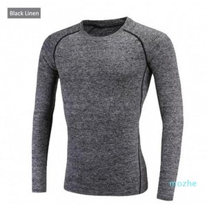Autumn and winter outdoor sports men long - sleeved sports quick - drying. Tight fit fitness suit T-shirt. Has a strong elasticity