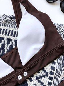 PlayShiny Push Up Bikinis Traje de baño de las mujeres Thong traje de baño Corte Trajes de baño de cintura alta BIQUEINI Cuello v-cuello Ropa de playa 2021 Nuevo