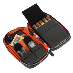Genuine Leather Cigar Case Travel Business Outdoor Cigar Humidor Box Portable Humidor Bag Cigar Box Fit 5 Cigars