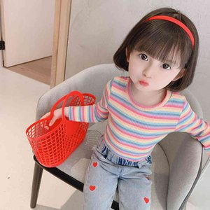 Baby Girls Tops Rainbow Stirped T Shirt Girl Casual Style T-shirts Children Toddler Children's Clothing Girl 210412