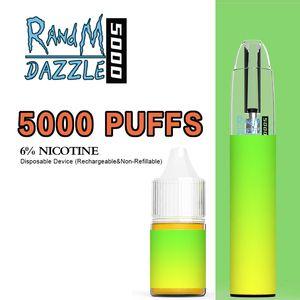 Otantik Randm Dazzle Pro 5000 Hit Tek Kullanımlık Vape Kiti E Sigaralar Şarj Pil 10 ml Kartuş Vapes Kalem RGB Işık Ile