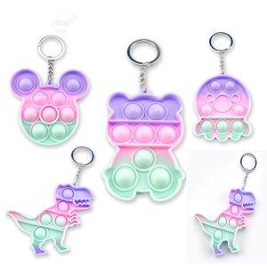 Children Decompression Toy Adult Push Bubble Fidget Sensory Toy Key Ring Educational Mini Anti-stress Toys