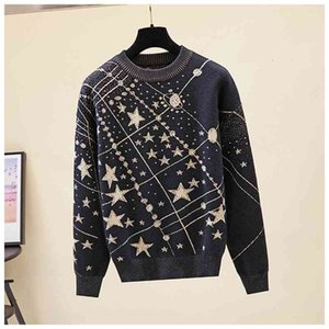 2021 New Retro Galaxy Star Pattern Sweater Women Vintage Long Sleeve Jumpers Autumn Winter Ladies Jacquard Sweaters Pullovers Prad