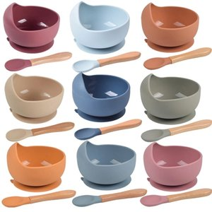 Baby Silicone Bowl FeedingTableware Spoon Waterproof Suction Children's Tableware Plate Set Dishes Kitchenware