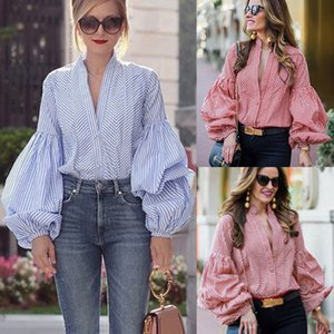 Fashion Causal Women Ladies Autumn Blouse Shirts Tops 2 Style Long Lantern Sleeve Plaid V-Neck Striped Solid Shirts Tops