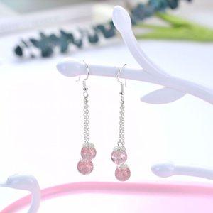 Qiyi S925 Sier Women's Korea Long Ear Thread Natural Strawberry Crystal Simple Earrings Gift