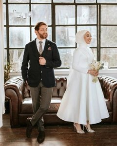 Sexy Short Muslim Wedding Dress For Women A Line Ankle Length Satin Boho Beach Bridal Dresses Long Sleeve Bride Gown With Bow