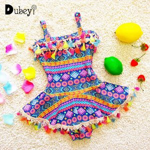 Baby Girl Vintage Swimwear Swimming Bikini With Tassel Toddler Bathing Suit 2-7Y Beach One Piece Swimsuit Swim Wear One-Pieces
