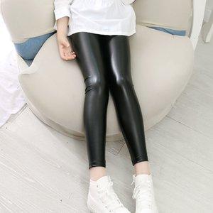 Брюки высокого качества девушки искусственные кожаные леггинсы детские брюки qrky
