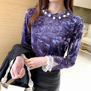 Autumn Winter Warm Clothes Gold Velvet Shirt Fashion Lace Stitching Women Blouse Tops Long-sleeve Beaded Women's Blouses & Shirts