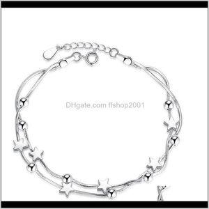 Sier Bracelet Star Square Ball Charm Bracelets Women Girls Fashion Jewelry Will And Sandy Gift Bl5I2 Ontgp