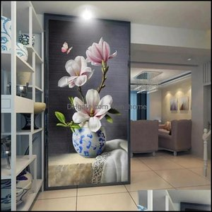 Wallpapers Décor Home & Gardencustom Mural Chinese Style Oil Painting 3D Vase Magnolia Flower Butterfly Entrance Living Room Corridor Wallpa
