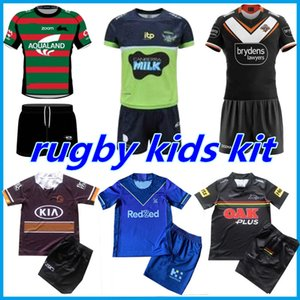 KIT KIT 2021 2022 Set di maglie di rugby Set Melbourne Broncos West Tiger Coniglio Leopard Casa Away Boys Jersey Bambini Vestito 21 22 Top Quality 16-26