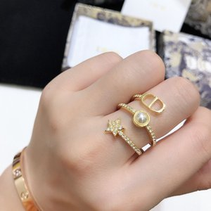Adjustment Luxury Fashion Diamond Jewelry Designer Opening Ring D's   Inlaid Brass Personality Letter Five Pointed Star Female