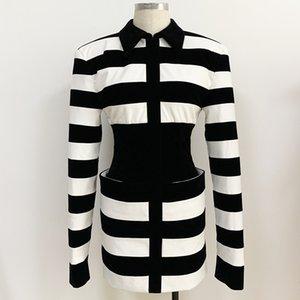 Premium Style Top Quality Original Design Women's Dress Working Dresses Lady Slim Classic Corset Pack Hip Shirtdress Soft Leather Velour Black & White Stripes