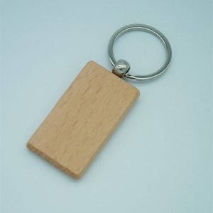 60pcs Blank Rectangle Wooden Key Chain DIY Promotion Keychain Pendant Wood Keyring Tags Promotional Gifts 210410